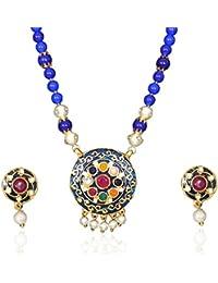 Sansar India Jaipuri Meena Enamel Work Round Navratna Pendant Earrings Blue Beads Necklace Set For Girls And Women