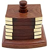RGRANDSONS® Wooden Tea Coasters Set Of 6, Round Handicraft With Brass Décor Square Stick Shaped