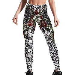 Hibote Nuevas Leggings Diseño Mujeres Cráneo Leggins Fitness Impresión Digital Tamaño Pantalones Entrenamiento Elástico Leggins