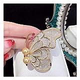 MTWTM Perle Brosche Fashion Weiblich High-Grade Zirkon Einfügen Pin Kleidung Nadel Button Schöne Schmetterling, Rosa