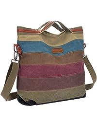 Coofit Damen Mädchen Handtasche Umhängetasche Schultasche Leinwand Multifunktion mit Schulterträger (colorful 01)