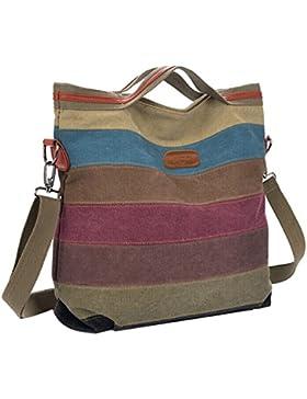 Coofit Damen Mädchen Handtasche Umhängetasche Schultasche Leinwand Multifunktion mit Schulterträger (colorful...
