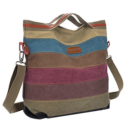 Canvas Umhängetasche,Coofit Multi-Color Striped Handtasche Umhängetasche Schultasche Alltagstasche Leinwand Schulterträger (Auf Canvas Tragen)