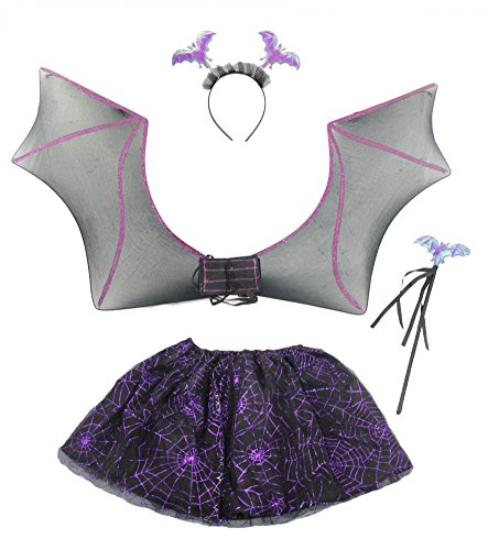 Foxxeo Set di Pipistrelli per Bambini Halloween Horror Carnival Party Carnival Party Viola Nero Animal Girl Tutu Wings Scepter