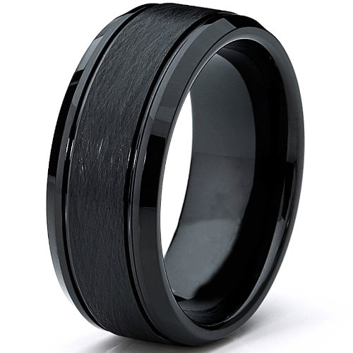 Schwarz Herren Wolframcarbid Ehering Gebürstet,Bequemlichkeit Passen 8mm Größe 64.5