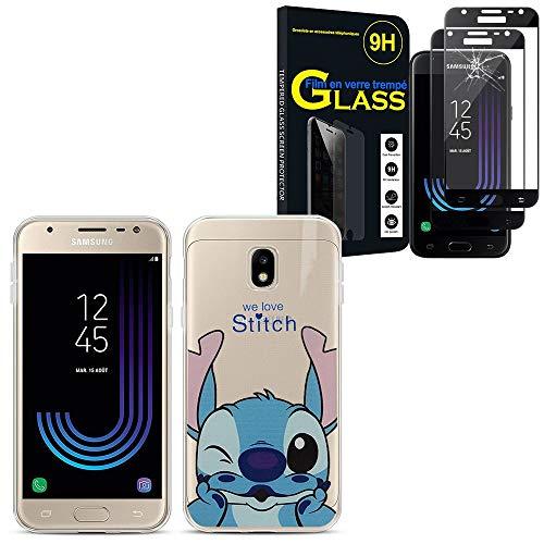 ANNART Coque pour Samsung Galaxy J3 (2017)/ J3 Pro (2017), Coque silicone TPU Transparente Ultra-Fine Dessin animé jolie Stitch + 2 Films Verre trempé NOIR pour Samsung Galaxy J3 (2017)/ J3 Pro (2017)