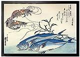 1art1 94051 Utagawa Hiroshige - Makrelen und Garnelen, 1834-35 Fußmatte Türmatte 70 x 50 cm