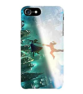 For Apple iPhone 7 girl, boy, city, beautiful building, sky blue Designer Printed High Quality Smooth Matte Protective Mobile Pouch Back Case Cover by BUZZWORLD
