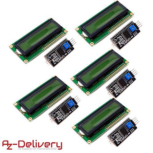 AZDelivery ⭐⭐⭐⭐⭐ 5 x HD44780 1602 LCD Modul Display Bundle mit I2C Schnittstelle 2x16 Zeichen mit gratis eBook! (mit grünem Hintergrund) 2 X 2 Lcd