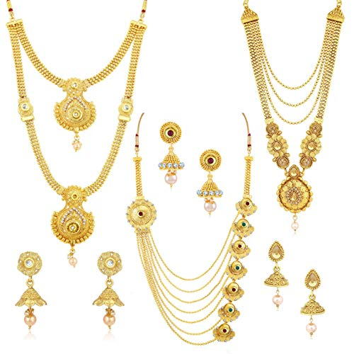 Sukkhi Antique Gold Plated Kundan Multi-String Set of 3 Necklace Set Combo Jewellery for Women