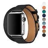 WAfeel Apple Watch Uhrenarmbänder 42mm Echtes Lederband Doppel-Tour-Kombination Wiedereinbau Armbänder mit Metallschließe für Apple Watch Series 3 2 1 (Schwarz)