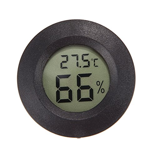 Prettygood7 Thermometer Hygrometer Temperatur Luftfeuchtigkeit Messgerät Neue LCD Rund Digital Innen Digital Luftfeuchtigkeit Temperatur Thermometer Senso Schwarz