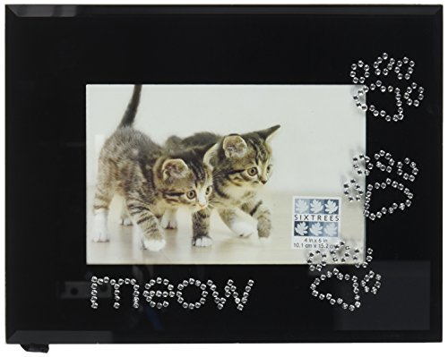 sixtrees-meow-rhinestone-pawprints-frame-4-by-6-inch