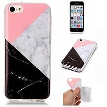 Funda para Aapple iphone 5C, iphone 5C Funda Silicona Mármol, MEETER Mármol Diseño Funda de Silicona Suave Case Cover Protección cáscara Soft Gel TPU Carcasa Funda para iphone 5C - Rosa y blanco y negro
