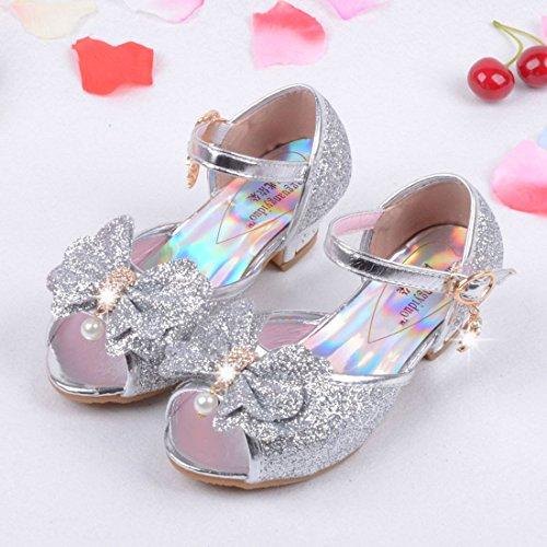 O&N Prinzessin Gelee Partei Absatz-Schuhe Sandalette Stöckelschuhe für Kinder Silber