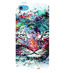 PrintVisa Modern Art Colorful Lion 3D Hard Polycarbonate Designer Back Case Cover for Apple iPhone 5C
