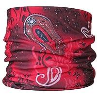 Braga para el cuello, pañuelo de microfibra multifunción, diseño color de rojo cachemir paisley