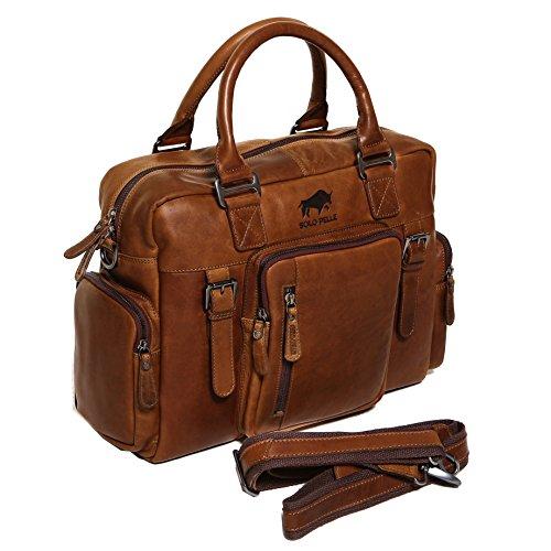 Solo Pelle Messenger Tasche / Umhängetasche aus echtem Leder Model: Valencia (Oreo Braun)