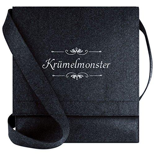 Halfar® Tasche mit Namen Krümelmonster bestickt - personalisierte Filz-Umhängetasche