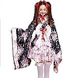 Japanese Cherry blossoms pattern Kimono Anime Cosplay Lolita Halloween Fancy Dress Costume L