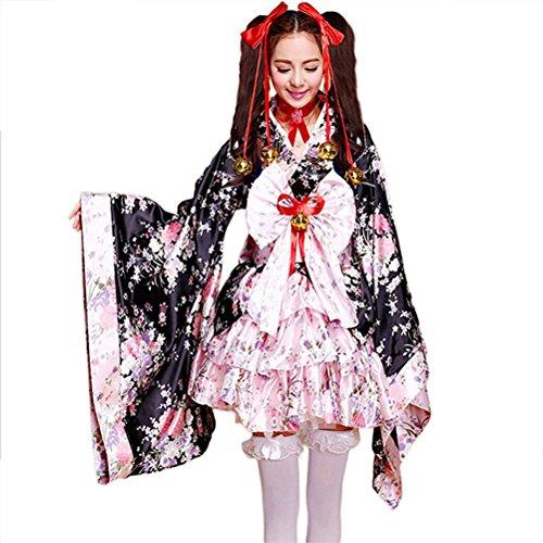 Japanese Cherry blossoms pattern Kimono Anime Cosplay Lolita Halloween Fancy Dress Costume (Baby Kostüme Baby Blossom)