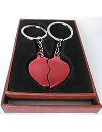 Llavero corazón rojo doble + 2 nombres grabados