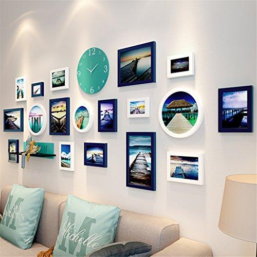 Alle Aluminium-wohnzimmer Tisch (BJFF® Bilderrahmen Wand Kombination Wohnzimmer Uhren Und Uhren Massivholz Foto Wand Dekoration Modern Einfach Kreativ Hängende Wand Fresken,B)