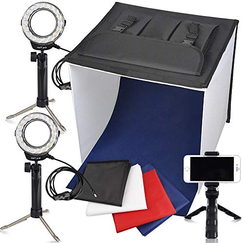 FOSITAN Fotostudio 40x40cm Faltbare Tischplatte Fotografie Beleuchtung Fotozelt Lichtzelt (900lm X2, 7W LED Ring Kopf X2, Stativ X3, Kulissen X4, 3200K/5500/9000K)