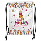 ZKHTO Drawstring Sack Backpacks Bags,Birthday Decorations,Joyful Mouses Partying Presents and Cake with Candles Festive Cartoon, Soft Satin,5 Liter Capacity,Adjustable String Closur