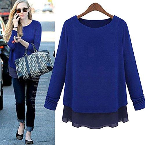Moshow felpa camicetta chiffona maglione a maglia maglia a maniche lunghe falsi 2 pezzi Blu