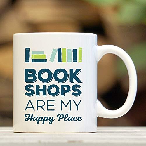 Lplpol Ceramic Coffee Mug Cup Bookshops Are My Happy Place Book Coffee Mug Book Lover Gift Book Nerd Gift For Readers Bookworm Mug 11 Oz