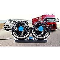 Dbtxwd Auto-Fans, Elektrisches 360 ° Drehbares Armaturenbrett Doppelkopf-Justierbares Lärmarmes Kühlventilator Für Limousine SUV RV-Boot, Sommer-Abkühlender Umluft-Zirkulator,Blue