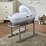 FYLO White Dimple Grey Wicker Moses Basket with Grey Rocking St