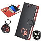 SURAZO Rot Hundeherz - Premium Vintage Ledertasche Schutzhülle Wallet Case aus Echtesleder Costa Farbe Schwarz für Nokia 6 2017 (5,50 Zoll)