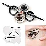 Gel Eyeliner Set, Tinabless Waterproof 2 in 1 Brown and Black Eyeliner Make Up Cosmetic Eyeliner Long lasting Cream Eye Liners Kit with Makeup Eyeliner and Eyebrow Brushes and Cat Shaping Eye Liner Stencil