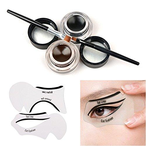 tinabless-2-in-1-brown-and-black-waterproof-gel-eyeliner-set-with-makeup-eyebrow-brush-cat-eye-liner