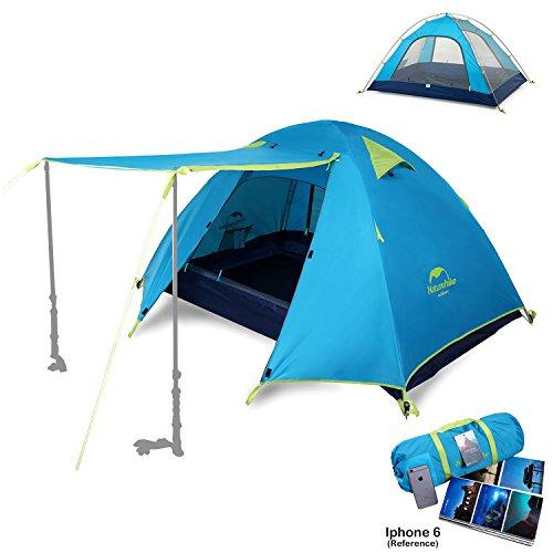 Topnaca® 1 2 3 4 Person Camping Zelt Wasserdichte Markise Design Zwei Türen Doppelschicht mit Aluminium Ruten für Outdoor Backpacking Familie Strand Jagd Wandern Reisen (Azurblau, 3 Personen)