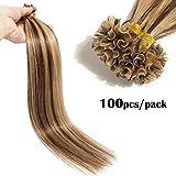 TESS Extensions Echthaar Bondings 1g Keratin Haarverlängerung Remy Human Hair Extensions U-Tip 100 Strähnen 100g-40cm(#4/27 Schokobraun/Dunkelblond)