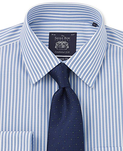 Savile Row Men's Non-Iron Blue White Bengal Stripe Classic Fit Shirt Single Or Double Cuff Blue White