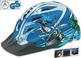 Spezial Fahrradhelm mit Piraten-Motiv + integriertes LED-Rücklicht (Größe 48-52cm, Jungen-Helm)