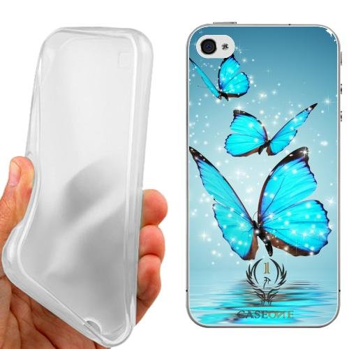 CUSTODIA COVER CASE FARFALLE CELESTI PER IPHONE 4 4G 4S