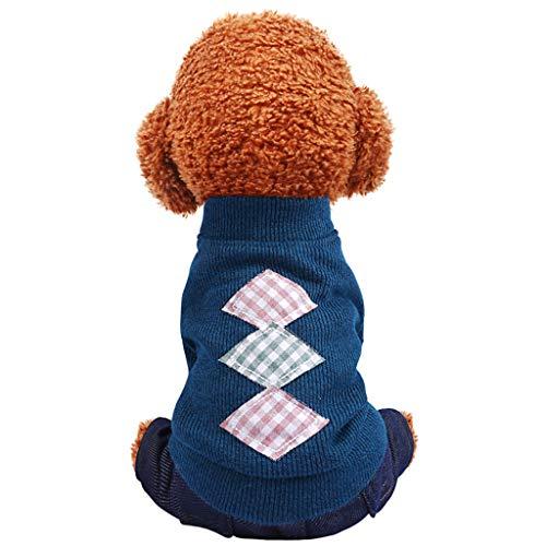 Jacke Kostüm Pudel Mädchen - Cuteelf Pet Kleidung waschen gestrickte Trägerhosen Herbst und Winter Mode waschbar Strick sowie Samt Diamant Jeans niedlichen Hund Mode Jacke Strickpullover Anzug