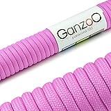 Paracord 550 Seil, 15 Meter, für Armband, Knüpfen von Hundeleine oder Hunde-Halsband zum selber machen / Seil mit 4mm Stärke / Mehrzweck-Seil / Survival-Seil / Parachute Cord belastbar bis 250kg (550lbs), Farbe: pink 2, Marke Ganzoo
