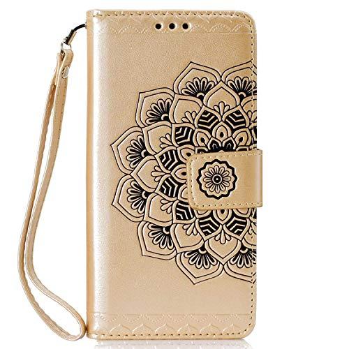 Coque Huawei Honor 7C, SONWO La Mode Motif de Mandala Fleurs Flip en Cuir PU Housse Etui avec Fermoir magnétique, Fentes de la Carte pour Huawei Honor 7C, Or par SONWO