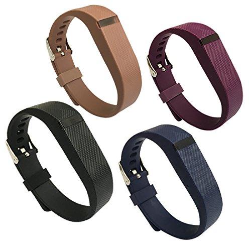 Ysyp, 4 cinturini di ricambio in silicone con chiusura a fibbia stretta/larga, per braccialetto Fitbit Flex, Black&Navy&Purple&Brown