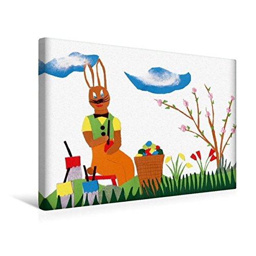 Calvendo Premium Textil-Leinwand 45 cm x 30 cm Quer, Osterhase Bemalt Eier im Gras. | Wandbild, Bild auf Keilrahmen, Fertigbild auf Echter Leinwand. Gras. Gebastelt aus Papier Kunst Kunst