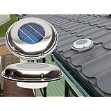UltimateAddons Extractor ventilador de perfil bajo y carga solar de acero inoxidable con interruptor incorporado para casas, caravanas y autocaravanas