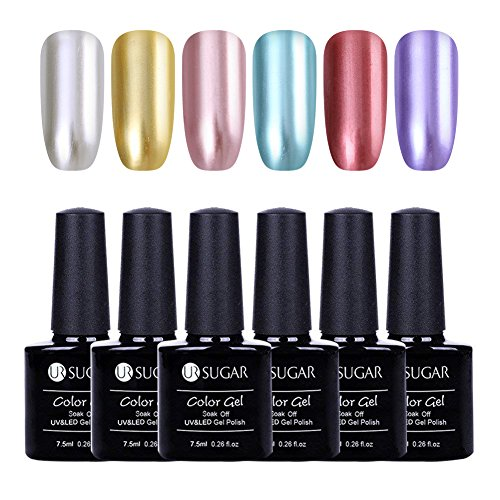 UR Sugar 7,5 ml Gel Nagellack-Set Metallic-Magic Mirror Effekt Lack UV-LED-Soak Off Maniküre Nail Art chrom Metall Shinny Lack 6 Flaschen Set (Spiegel Gel Nagellack)