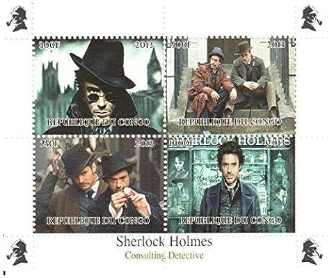 Sherlock Holmes Briefmarken für Briefmarkensammeln - Robert Downey Jr.. In der Sherlock Holmes Spielfilm - 4 postfrische Briefmarken auf einem Briefmarkenbogen aus den Angeln gehoben - lose