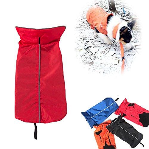 Nylon-fleece-jacke-mantel (Ericoy Hundemantel aus 100% Wasserdicht Nylon Fleece Futter Jacke Reflektierende Hundejacke Warm Hundemantel Climate Changer Fleece Jacke)
